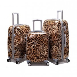 Valija Set X 3 - 4 Ruedas Rigida  A/555 Animal Print